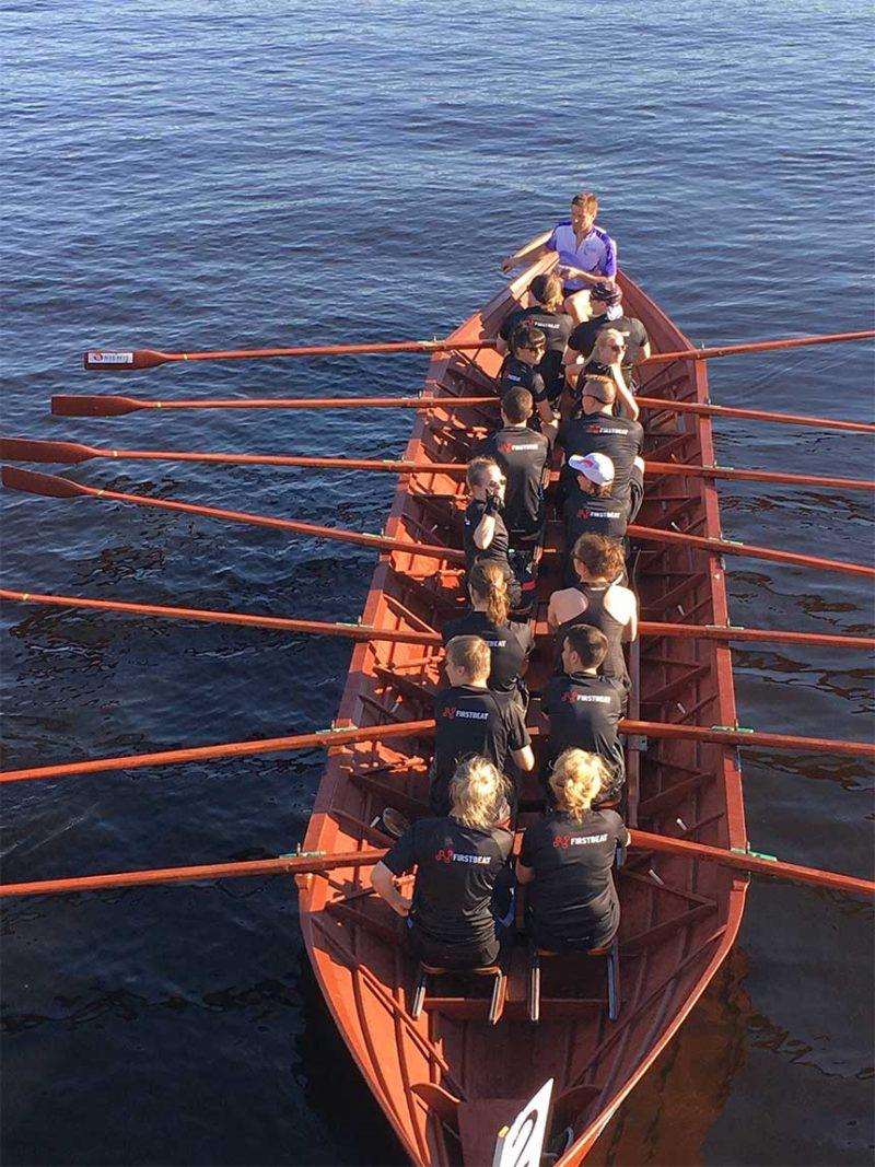 Firstbeat staff rowing a church boat