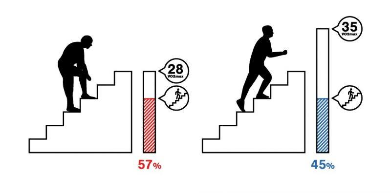 The percentage of your aerobic capacity you need to climb stairs depends on your VO2max level