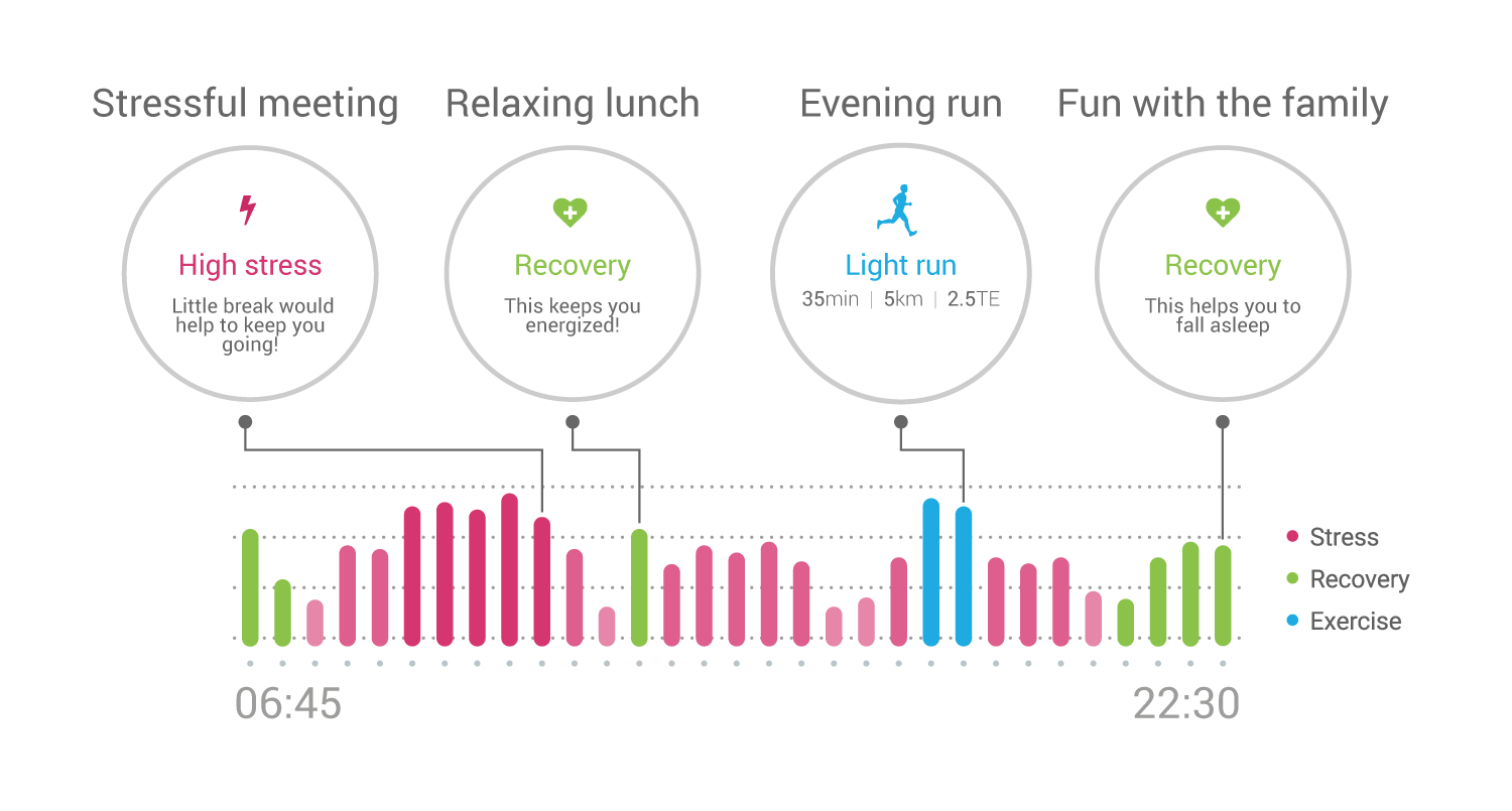 UX - day graphic on stress, recovery and exercise