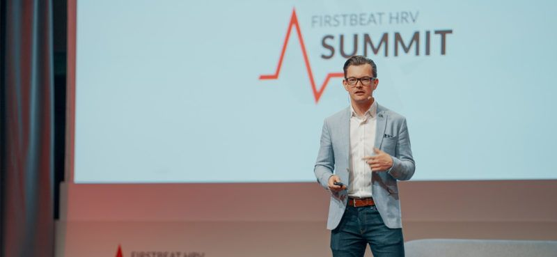 James Hewitt on the stage at Firstebat HRV Summit 2019